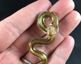 Beautiful Glass Snake Pendant in Gold and Green Snake Pendant