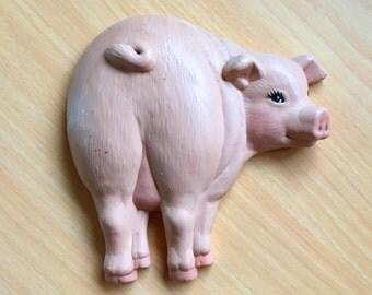 Cute Vintage Ceramic Pig Looking Back Wall Plaque