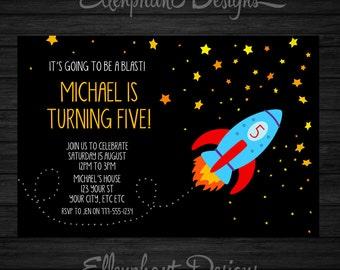 Rocket Birthday Invitation, space, stars, kids, spaceship, 1st, 2nd, 3rd, 4th, 5th, 6th, boy, party, custom invite, digital file, you print