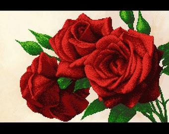 Red roses - Picture embroidered with beads, Embroidered picture, Beadwork, Crosstich picture, Bordado, Beaded embroidery, Beaded picture