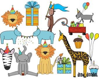 Party Animals Digital Clip Art Set- Instant Download