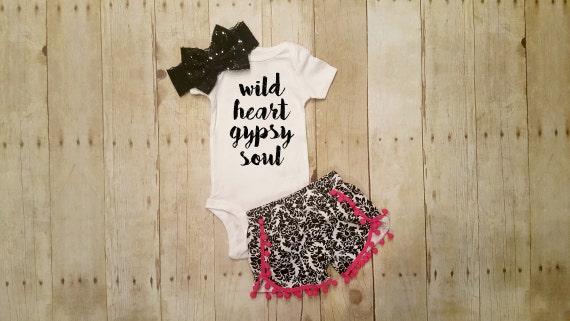 wild heart gypsy soul baby girl bodysuit by glitterandglamshop. Black Bedroom Furniture Sets. Home Design Ideas