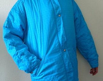 Vintage Women's Ski Jacket Turquoise Jacket 80s 90s Ski Jacket Hipster Jacket  Blue Jacket Winter Turquoise Coat Large