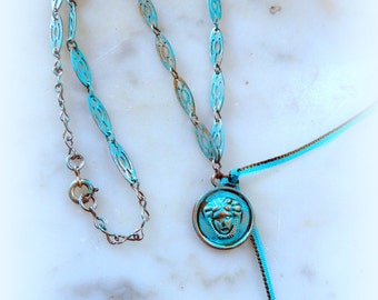 mid-long necklace JANUS verdigris