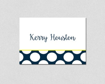 Personalized Folded Note Cards, Navy and Yellow Polka Dots Stationery