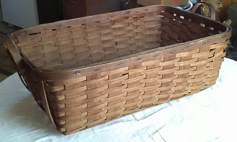 Woven Gathering Basket : Vintage splint oak gathering basket woven cotton