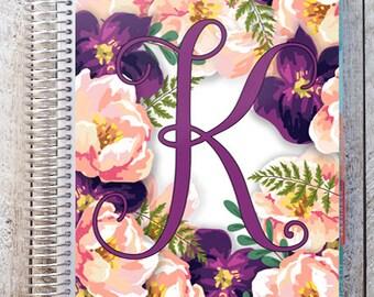 planner cover, floral wreath monogram, watercolor flowers, custom eclp cover, watercolor monogram, printed, digital download, monogram