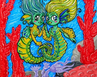 Seahorse Sisters Mermaid Mini Print