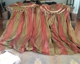 Vintage Silk Taffeta Custom Drapes