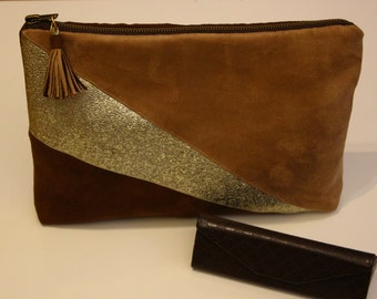 Faux leather and suede pouch.