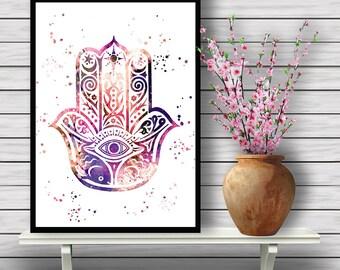 Hamsa Hand, Protective Hand, watercolor art print, home decor, Hamsa, watercolor painting, Protection,  illustration, Instant Download