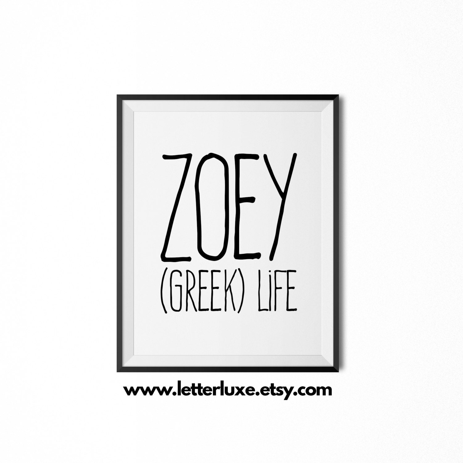 zoey name meaning art printable baby shower gift nursery. Black Bedroom Furniture Sets. Home Design Ideas