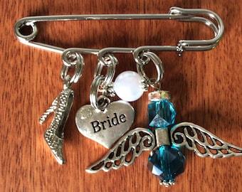 BRIDAL PIN, Bridal Pin For Her, Something Blue, Something Blue Pin, Wedding Pin, Bride Pin, Something Blue For Bride, Something Old