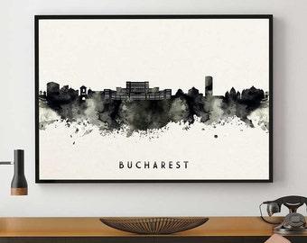 Bucharest Skyline, Bucharest Print, Romania Art, Black And White, Watercolour Print, Wall Art Decor, Bedroom Art Gift (N102)