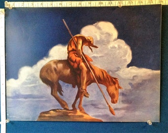 End of the trail  Native American on horseback 12 by 16 inches