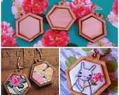 3 Mini Hexagon Pendant Embroidery Blanks - wood hexie Frame Necklace Craft Supply Jewelry