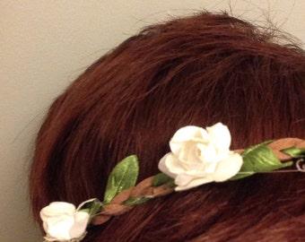 White Elastic Flower Crown
