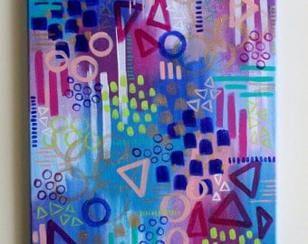 Colorful Art, Abstract Art, Abstract Painting, Geometric Art, Shape Art, Acrylic Painting, Canvas Painting, Bohemian Art, 12x16 Canvas