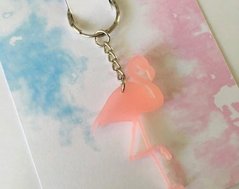 Flamingo Keyring, Lasercut Flamingo Keychain, Bag Charm Accessory, Cute Novelty Gift for Flamingo Lovers, Christmas Gift, Stocking Filler