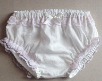 Christening baby underwear, christening diaper cover, ivory diaper cover, frilly diaper cover, diaper cover with lace
