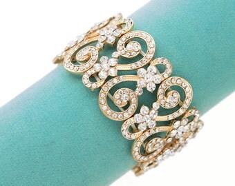 GOLD Rhinestone bracelet, Vintage style wedding jewelry, Bridal crystal bracelet, Bridesmaid bracelet, Bridesmaid gift, Bridal jewelry 0120G