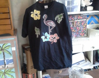 Hand Painted tropical t-shirt
