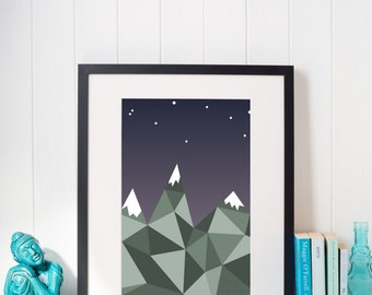 Mountains at Dusk Geometric Print