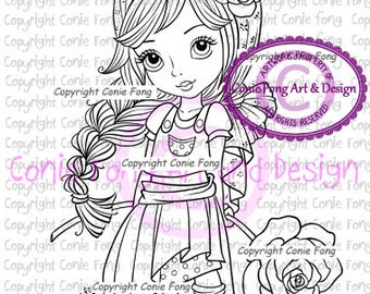 digital stamp, digi stamp, digistamp, Feeling Fabulous by Conie Fong, girl, flower, rose, scrapbooking, coloring page