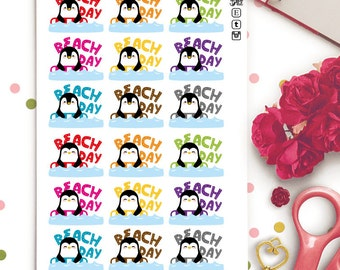 Penguins Beach Day Planner Stickers |  Animals | Cute | Summer | Beach | Vacation | Travel