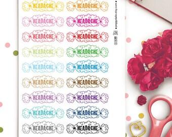 Headache Planner Stickers | Migraine Planner Stickers | SIck Day