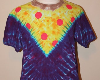 Blue and Purple Pizza Tie Dye T Shirt Adult XL