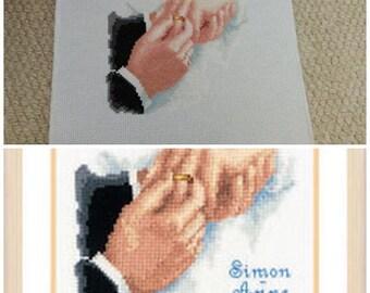 personalised wedding cross stitch, ready to go