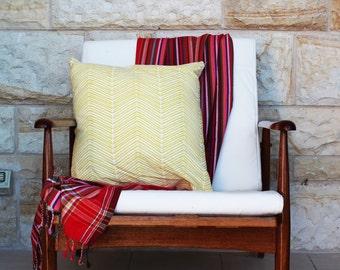 Yellow Chevron Tea Towel Cushion