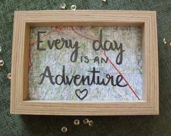 Adventure Quote Travel Map Frame//