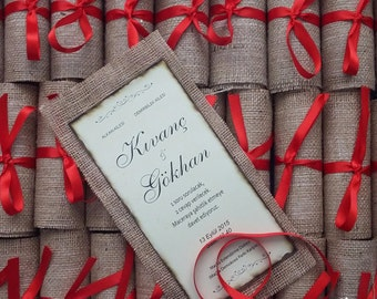 Rolled Wedding Invitations, Burlap Wedding Invites, Rustic Invitations, Autumn Wedding Invitations, Wedding Invites Recycle, 1 INVITATION