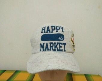 Rare Vintage HAPPY MARKET Haleiwa Since 1975 Cap Hat Free size fit all
