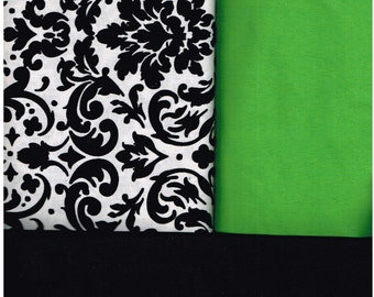 Nurses' Scrub Top, Made to Order, Green, White, Black Damask, Size Small, Med, Large, XLarge