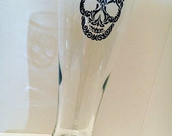 Pilsner Beer Glass w/ Skull