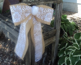 Burlap and Lace Bow with Tulle Flower, Burlap and Lace Pew Bow, Rustic Pew Bow, Rustic/Country/Barn Wedding Decor