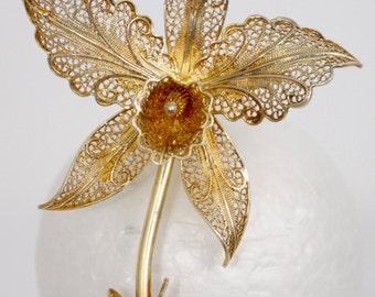 Vintage Listner brooch delicate filigree flower gold over sterling signed Portugal