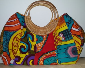 African fabric, bamboo handle handbag.