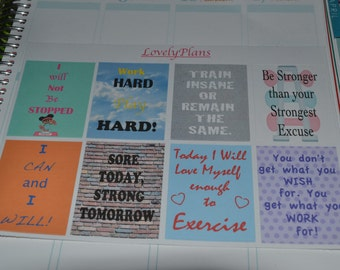 Planner Stickers: Motivational Exercise Quotes Full Boxes