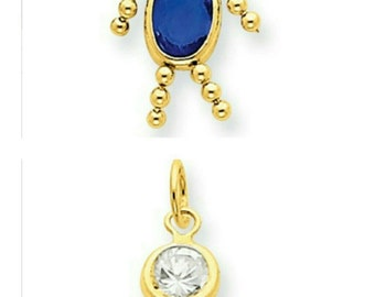 Beautiful Handcrafted Solid 14 Karat Yellow Gold 3-Dimensional Birthstone Boy Or Girl Charm Pendant.