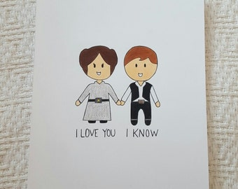 "8X10 ""I love you. I know"" Starwars handmade print"