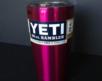 Candy raspberry powder coated 20oz Yeti rambler.