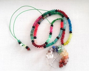 Tree of Life Necklace Multi Color Jade Beads Necklace, Beaded Pendant Necklace