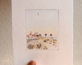 "Watercolor + Ink Beach - 4""x6"""