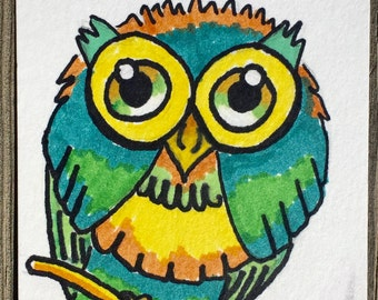 ACEO Trading Card Whimsical Owl Original