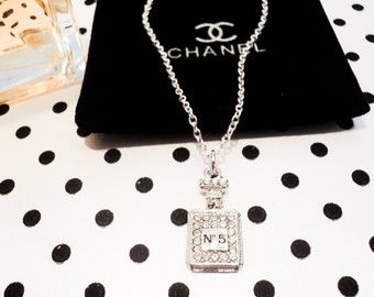 Chanel Inspired No 5 Perfume Bottle Necklace Silver or Gold