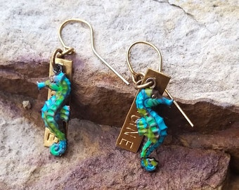 SEAHORSE  Earrings, Word Tag, Imagine Earrings, Hand Painted Solid Brass, Ocean, Beach Seahorse Jewelry, Sea Horse Necklace, Fob, For Girls